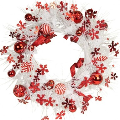 Pine Wreath with Festive Red/White Balls/Snowflakes Accents