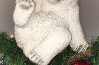 Playing Polar Bear Sitting Christmas Tree Topper