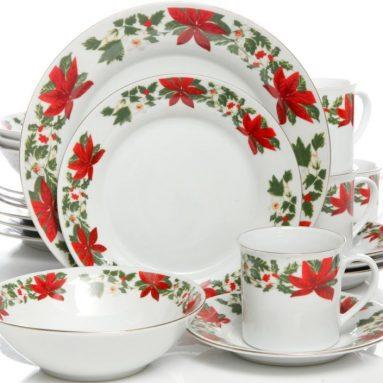Poinsettia Holiday 20 Piece Dinnerware Set