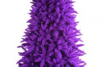 Pre-Lit Slim Purple Ashley Spruce Christmas Tree with Clear and Purple Lights