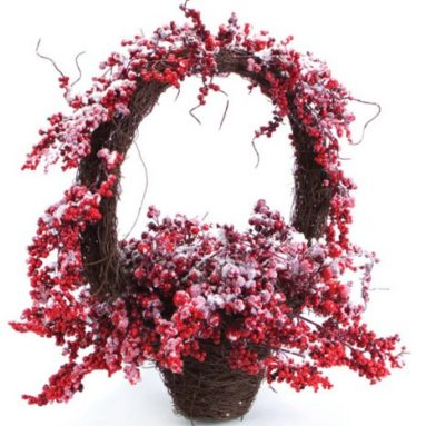 Red Mixed Berry in Basket Christmas Centerpieces