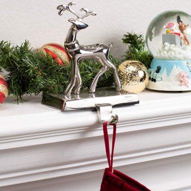 Reindeer and Santa Claus Stocking Holder Set