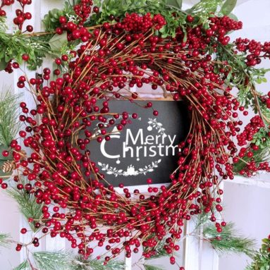 Rustic Artificial Red Berry Wreath Front Door Grapevine Twig Wreath