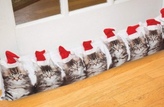 Santa Cat Draft Stopper/Pillow – Photorealistic Christmas Door