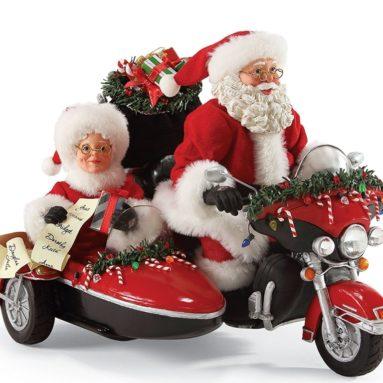 """Santa Claus """"Good Day For A Ride"""" Clothtique Christmas Figurine"""