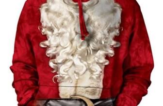 Santa Suit Pullover Hooded Sweatshirt Adult Mens