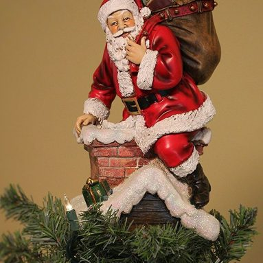 Santa in Chimney Delivering Gifts Christmas Tree Topper