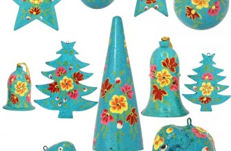 Set of 11 Turquoise Paper Mache Christmas Ornaments