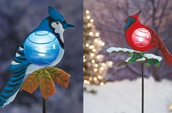 Set of 2 Red Cardinal and Blue Jay Solar Powered Light Christmas Bird