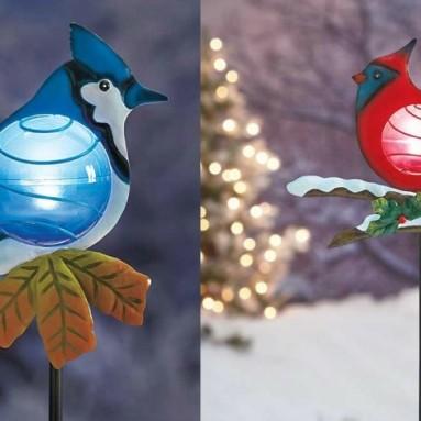 Set of 2 Red Cardinal and Blue Jay Solar Powered Light Christmas Bird