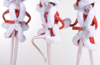 Set of 3 Italian Mouthblown Glass Christmas Ornaments