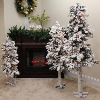 Set of 3 Pre-Lit Flocked Woodland Alpine Christmas Trees