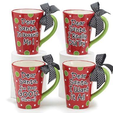 Set of 4 Dear Santa Coffee Mugs