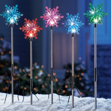 Set of 5 Color Changing Solar Snowflakes Outdoor Decoration