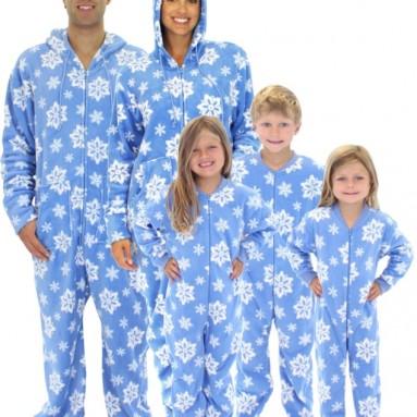 Snowflake Family Matching Fleece One Piece Footed Pajamas