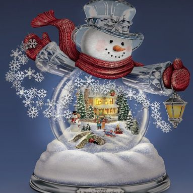 Snowglobe Snowman with Lighted Scene Plays