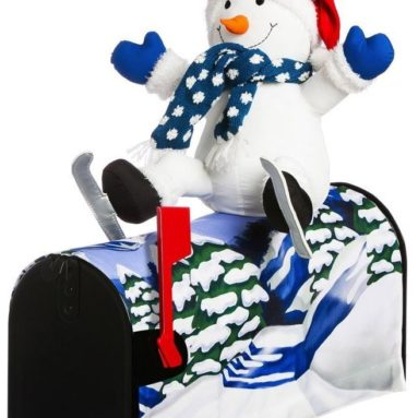 Snowman Skiing Magnetic Mailbox Cover