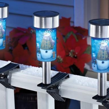 Snowman Solar Light Clips