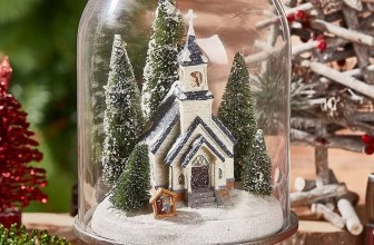 Snowy Church Christmas Cloche