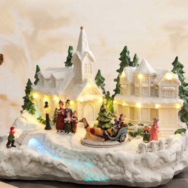 Snowy Village Music Box