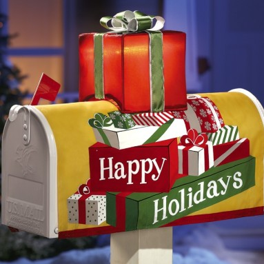 Solar Happy Holidays Mailbox Cover Decoration