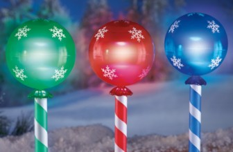 Solar Holiday Candy Light Stakes