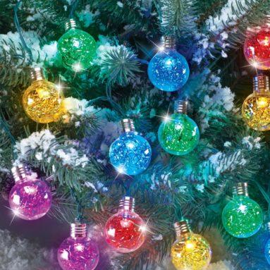 Solar Outdoor Tinsel Ornaments String Lights