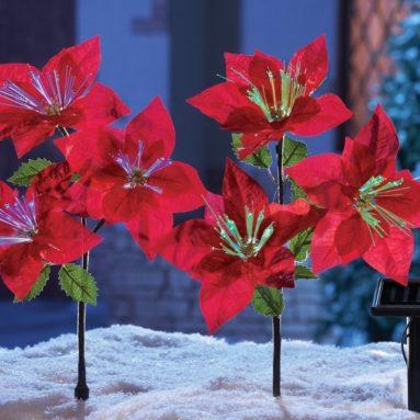 Solar Power Lighted Fiber Optic Red Poinsettia Flowers Christmas Yard