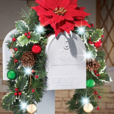 Solar Powered Lighted Christmas Poinsettia Mailbox Cover