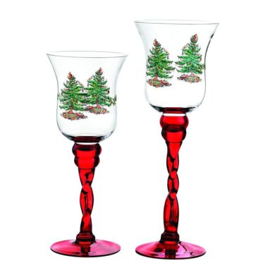 Spode Christmas Tree Glass Fluted Red Footed Candle Holders