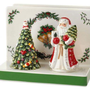 Spode Christmas Tree Napkin Holder with Salt & Pepper Set