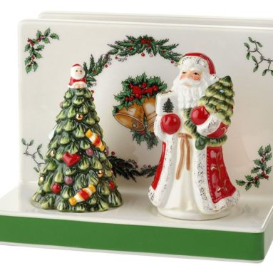 Spode Christmas Tree Napkin Holder with Salt & Pepper Set