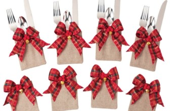 Tartan Plaid Christmas Silverware Holders Set