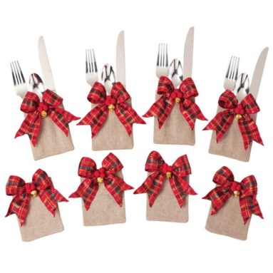 Tartan Plaid Christmas Silverware Holders Set