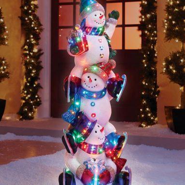 The 5′ Illuminated Snowman Totem Pole