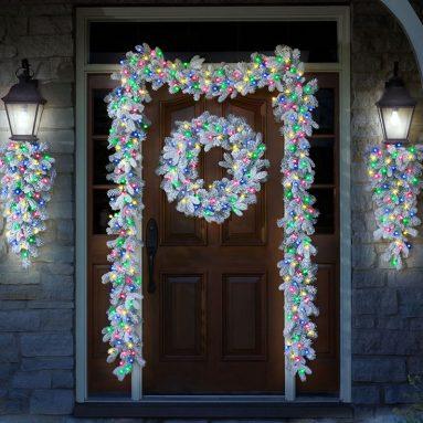 The Cordless Snowy Bough Light Show Trim