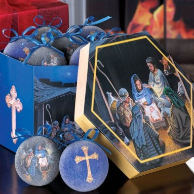 The Nativity Scene and Holy Cross Frosted Glass Christmas Tree Ornament Set
