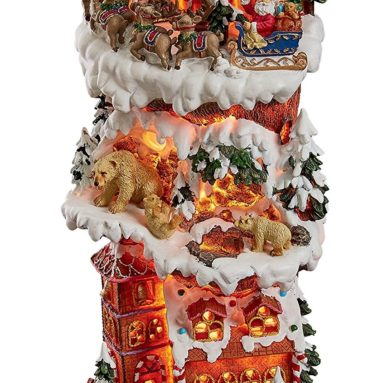 The North Pole on Christmas Eve with Santa Claus Illuminated Holiday Lights Statue