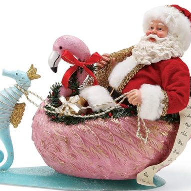 The Sea Santa Flamingo Crossing Figurine