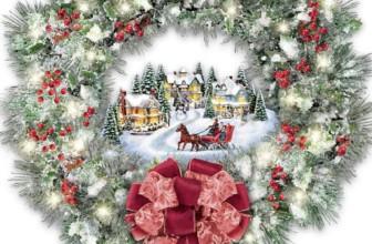 Thomas Kinkade A Holiday Homecoming Musical Christmas Village Wreath Lights Up