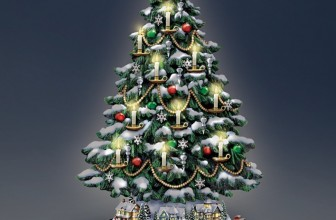 Thomas Kinkade Candlelit Tabletop Tree with Lights