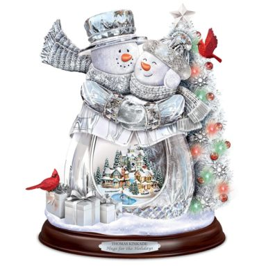 Thomas Kinkade Crystal Snowman Musical Sculpture with Color Changing Lights