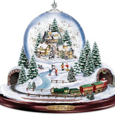 Thomas Kinkade Home for the Holidays Snowglobe Lights Motion and Music