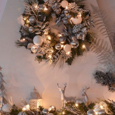 Valery Madelyn Pre-Lit 24″ Frozen Winter Silver and White Christmas Wreath