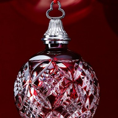 Waterford Red Cased Ball Ornament