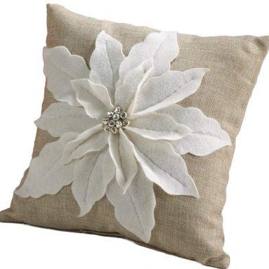White Poinsettia  Pillow