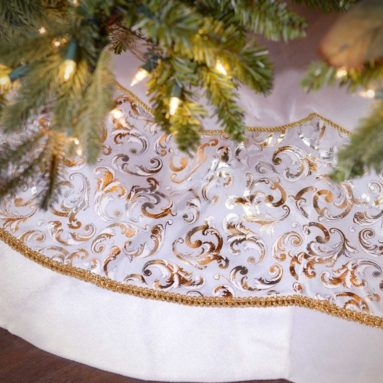 White Velvet And Metallic Print Tree Skirt