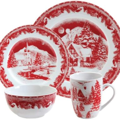 Winter Cottage 16-Piece Porcelain Dinnerware Set