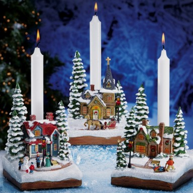 Winter Holiday Village Taper Candle Holders
