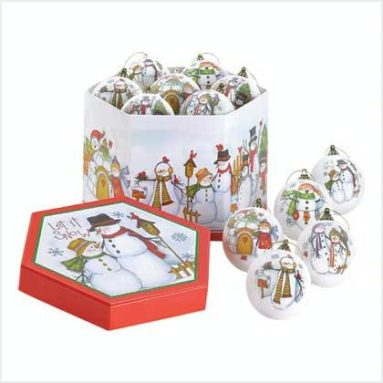 1 Dozen Let It Snow Christmas Holiday Ball Ornaments
